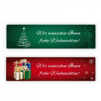 Werbebanner Werbetransparent Werbespannband mit Weihnachtsmotiv in rot oder grün