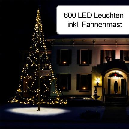 600er Weihnachtsbeleuchtung inkl. Fahnenmast 7 m