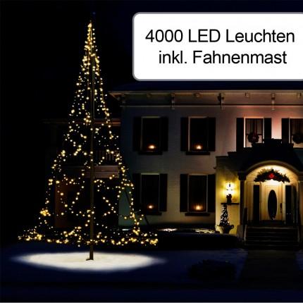 4000er Weihnachtsbeleuchtung inkl. Fahnenmast 10 m
