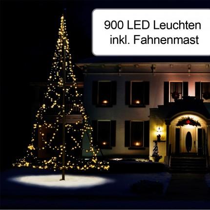 900er Weihnachtsbeleuchtung inkl. Fahnenmast 7 m