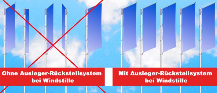 fahnenmastausleger-rueckstellsystem