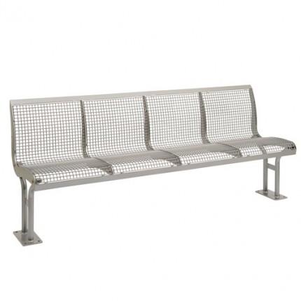 Parkbank Elea mit Rückenlehne - aus Stahl - 4er Sitzbank