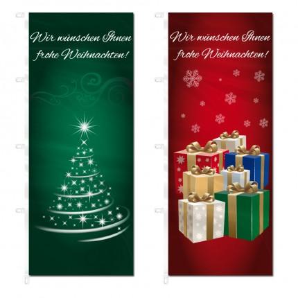 Ausleger-/Hissfahne im Hochformat mit Weihnachtsmotiv