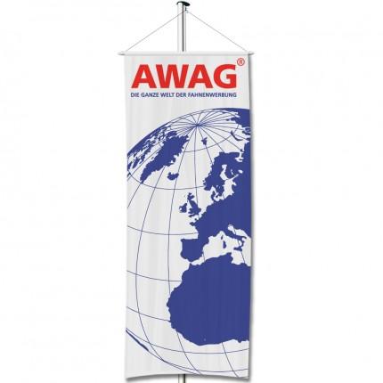 Werbefahnen für Fahnenmasten, als Bannerfahne in Hochformat, individuell bedruckt mit Ihrem Werbeaufdruck