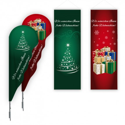 X-Mas-Set mit 2 Beachflags + 2 Innendekos 60 x 180