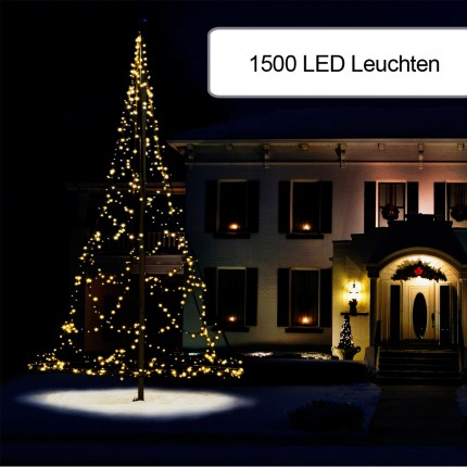 1500er Weihnachtsbeleuchtung für Fahnenmast